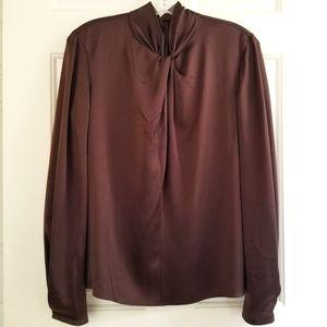 VINCE Silk Long Sleeve Twist Collar Snap Cuff Blouse